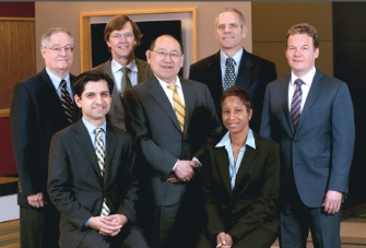 Front Row: Shahzad Mian, M.D., Paul Lee, M.D., J.D, Denise John, M.D. Second Row: Alan Sugar, M.D., Thomas Gardner, M.D., M.S., Michael Smith-Wheelcok, M.D., Raymond Douglas, M.D., Ph.D.